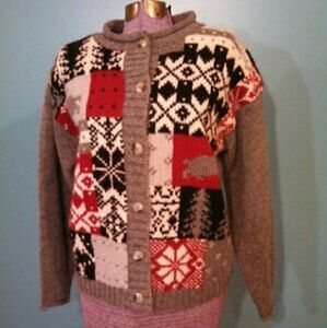 Vtg Eddie Bauer wool cardigan sweater Christmas